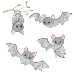 Set of cute bats, flying, hanging on the tree. Vector illustration.