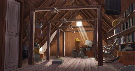 Drawing of an old house attic