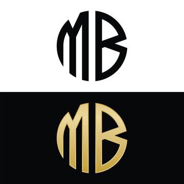 mb initial logo circle shape vector black and gold