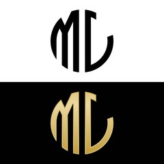 ml initial logo circle shape vector black and gold