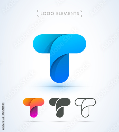 Vector Abstract Origami Letter T Logo Template Material Design