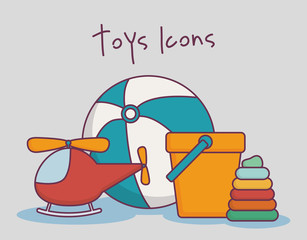 toys icons over gray background colorful design vector illustration