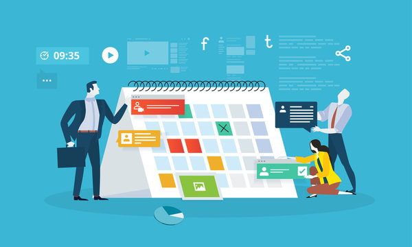 Events. Flat design business people concept for business planning, events and news, reminder and schedule. Vector illustration concept for web banner, business presentation, advertising material.