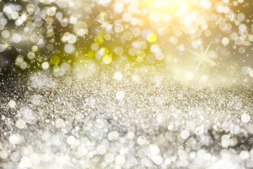 Silver light bokeh background. Abstract grey shiny glitter bokeh christmas background