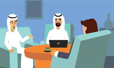 Arab business people discussing and working with laptop sitting at sofa. Corporate Couch Sitting Conceptual illustration vector.