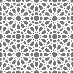 Islamic seamless vector pattern. White Geometric ornaments based on traditional arabic art. Oriental muslim mosaic. Turkish, Arabian, Moroccan design on a dark background. Mosque decoration element