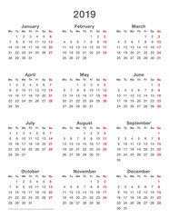 2019 calendar simple mondays first, format high