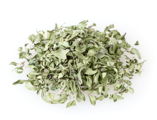 Heap of dry thyme isolated on white background