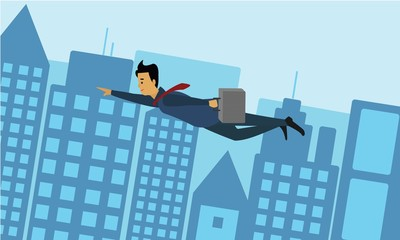 Businessman flying across the city. Success and competition concept illustration vector.