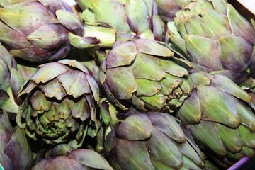 Fresh organic Artichoke on Farmers Market in Catania. Sicily