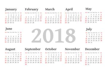 Vector Simple 2018 year calendar
