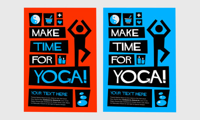 Make Time For Yoga! (Flat Style Vector Illustration Quote Poster Design)