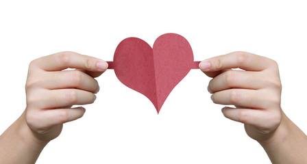Heart image paper craft with hand holding