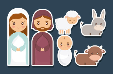 Mary joseph and baby jesus of holy family theme Vector illustration