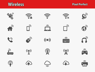 Wireless Icons. Professional, pixel perfect icons optimized for both large and small resolutions. EPS 8 format.