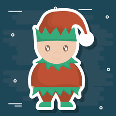Elf of Merry Christmas season theme Vector illustration