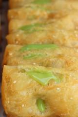 Deep fried dough put thai pandan custard