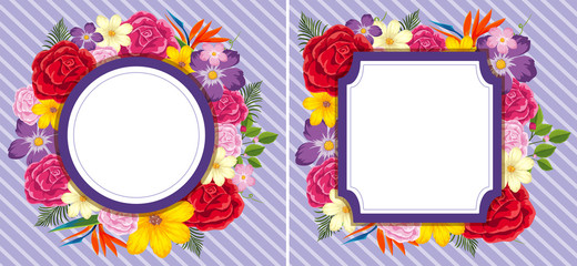 Flower frames on purple background