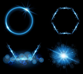 Blue light in four different designs