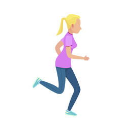 Young Blonde Girl in Slinky Sport Form Running