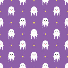 Cute ghosts Halloween seamless pattern