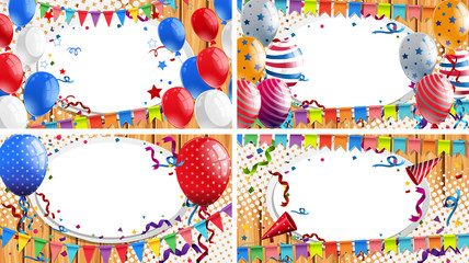 Four backgrounds with party theme
