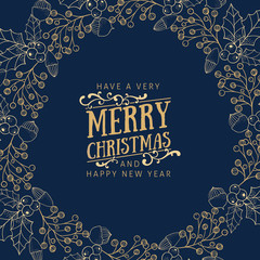 Golden christmas greetings at blue background