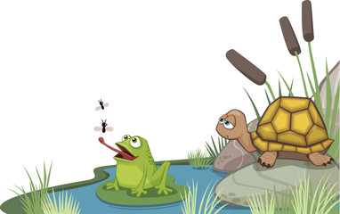 frog and turtle at the pond corner design
