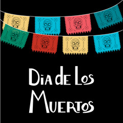 Dia de Los Muertos, Mexican Day of the Dead card, invitation. Party decoration, string of lights, handmade cut paper flags, skull, floral decor. Old wooden background.