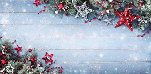 Christmas Background - Fir Branches And Baubles On Snowy Plank