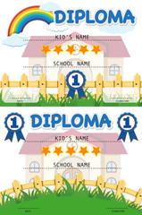 Diploma template with school building in background