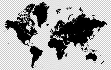 Foto op Aluminium Wereldkaart World map isolated on a transparent background, highly detailed vector illustration. All elements are easily editable and located in separate layers