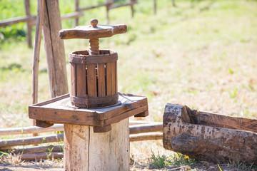 Wood press. Winepress