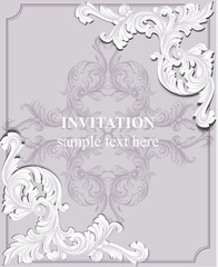 Luxury invitation card Vector. Royal victorian pattern ornament. Rich rococo backgrounds. Pale lavender colors