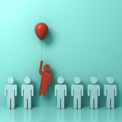 Stand out from the crowd and different concept , One man flying away from other people with red balloon on light green pastel color wall background with reflections and shadows . 3D rendering.
