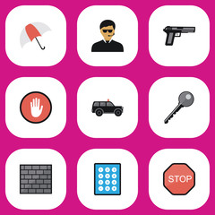 Set Of 9 Editable Safety Flat Icons. Includes Symbols Such As Parasol, Stop, Password And More. Can Be Used For Web, Mobile, UI And Infographic Design.