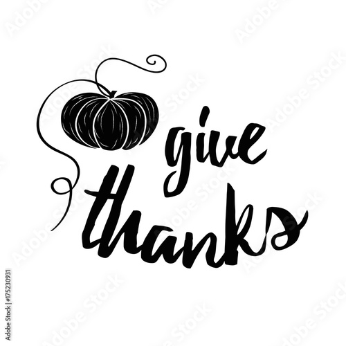 Vector Banner With Hand Drawn Black Pampkin And Text Give Thanks On White Background Print