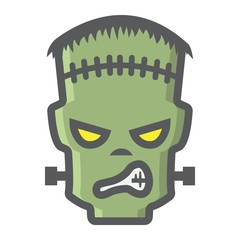 Frankenstein filled outline icon, halloween and scary, horror sign vector graphics, a colorful line pattern on a white background, eps 10.