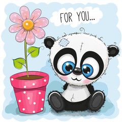 Greeting card Panda with flower
