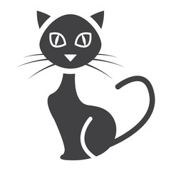 Cat glyph icon, halloween and scary, animal sign vector graphics, a solid pattern on a white background, eps 10.