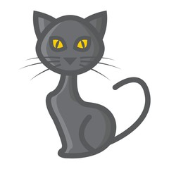 Cat filled outline icon, halloween and scary, animal sign vector graphics, a colorful line pattern on a white background, eps 10.