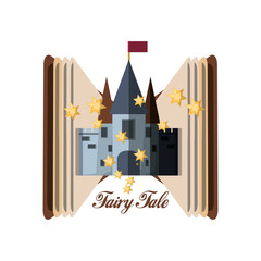 Book and castle of fairytale fantasy and magic theme Vector illustration