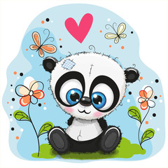 Cute Panda with flowers and butterflies