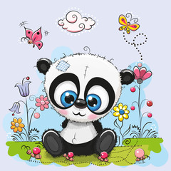 Cute Cartoon Panda with flowers and butterflies