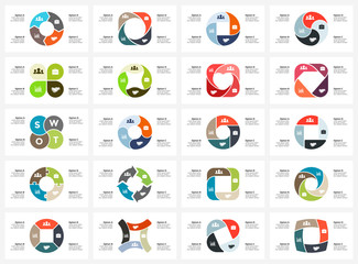 Vector circle arrows infographic, cycle diagram, graph, presentation chart. Business concept with 4 options, parts, steps, processes. SWOT analysis. 16x9 slide templates bundle.
