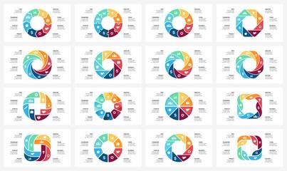 Vector circle arrows infographic, cycle diagram, graph, presentation chart. Business concept with 8 options, parts, steps, processes. 16x9 slide templates bundle.