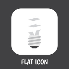 Vector Illustration Of Electrical Symbol On Fluorescent Flat Icon. Premium Quality Isolated Lightbulb Element In Trendy Flat Style.