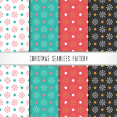 Christmas and happy new year pattern set. Winter holiday pattern with snowflake.