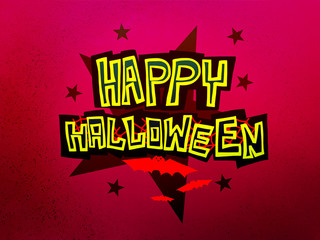 Wall Mural - Happy Halloween word and bats on purple background vector illustration
