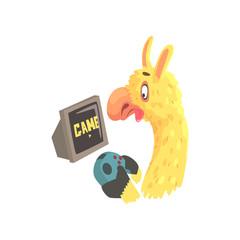 Funny llama character playing computer games, cute alpaca animal cartoon vector Illustration